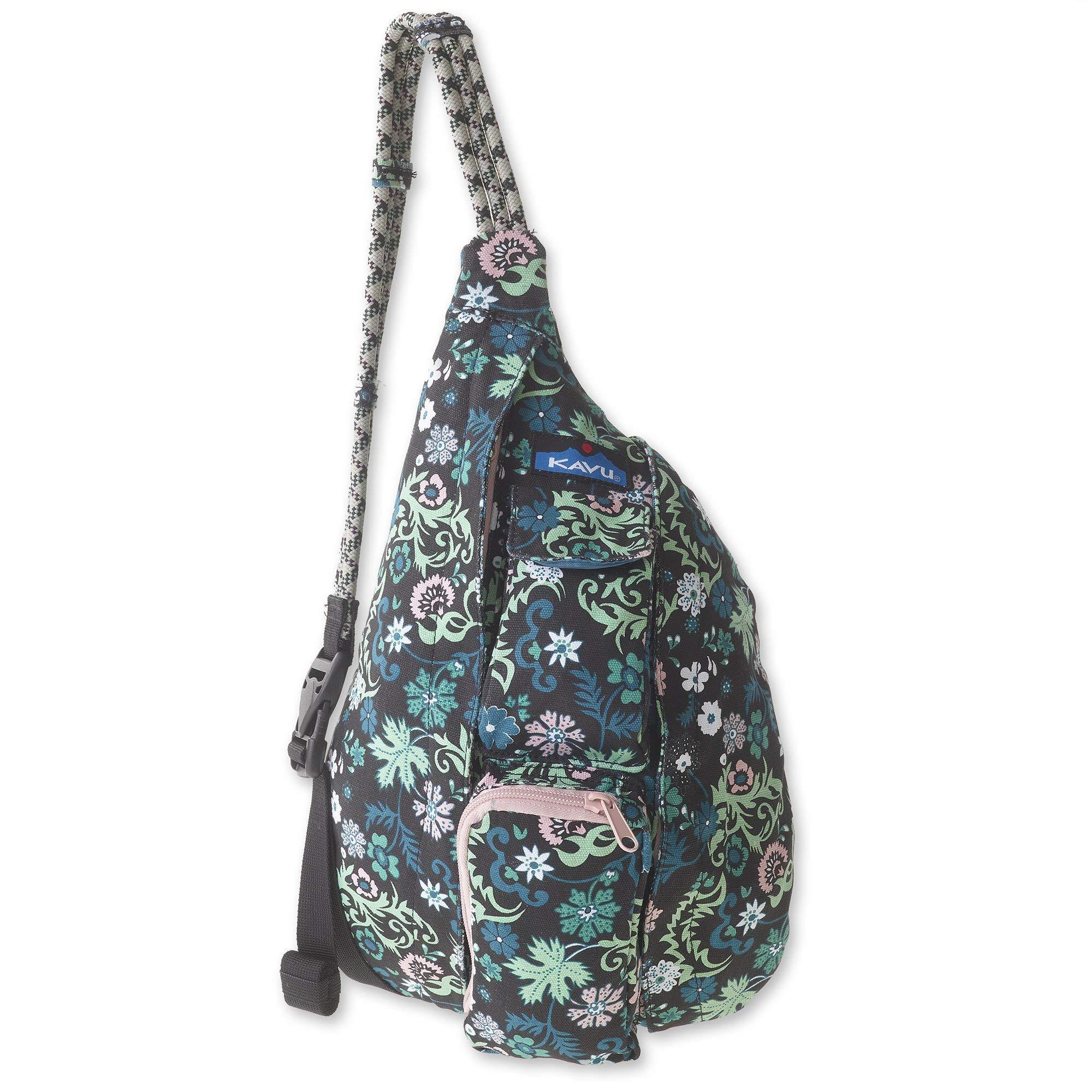 KAVU Mini Rope Bag Cotton Crossbody Sling Backpack  - Whimsical Meadow
