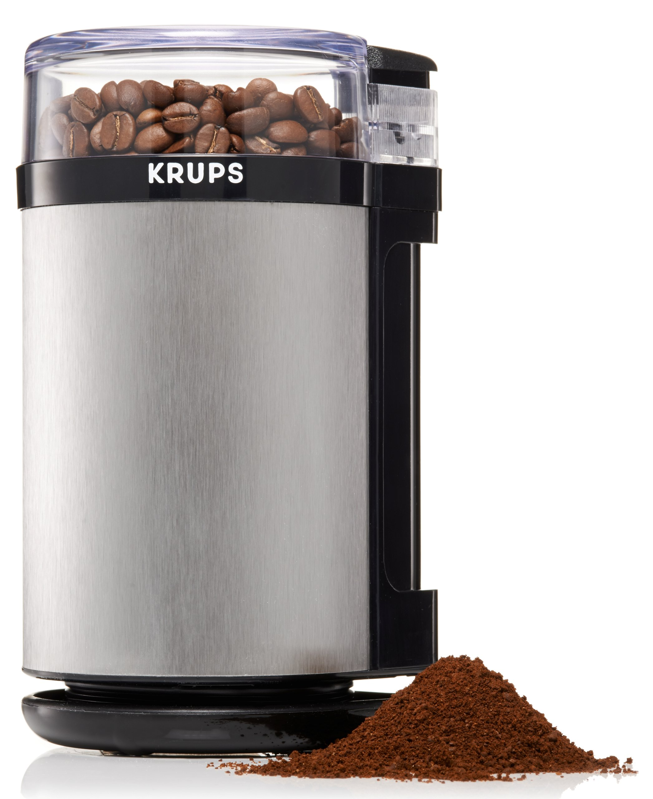KRUPS GX4100 Electric Spice Herbs and Coffee Grinder with Stainless Steel Blades and Housing, 3-Ounce, Gray by KRUPS