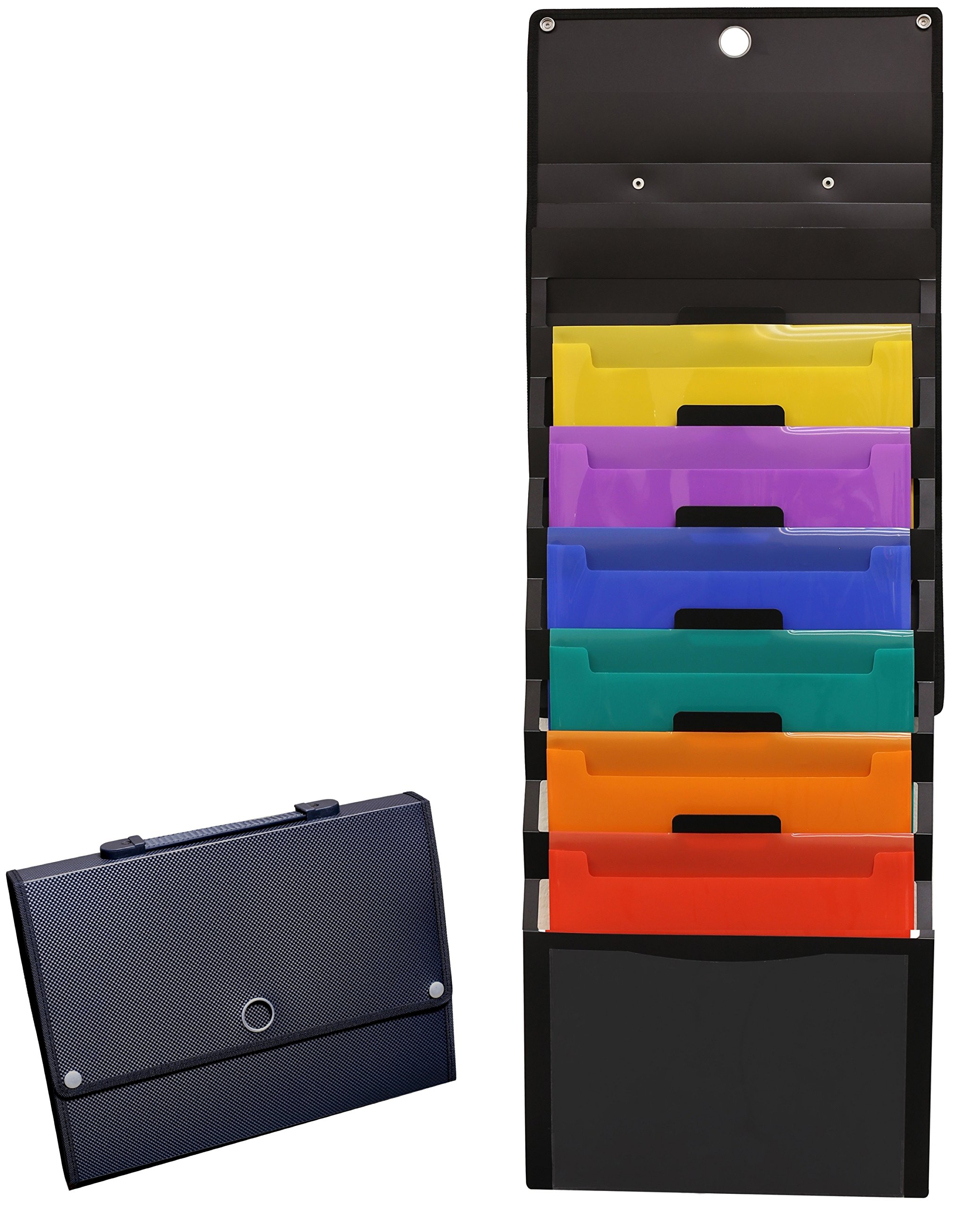 DecoBros Cascading Wall Mount Holder Organizer, 6 Removable File Pockets, Letter Size