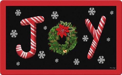 Toland Home Garden Joy 18 x 30 Inch Decorative Floor Mat Christmas Wreath Candy Cane Snowflake Doormat – 800100