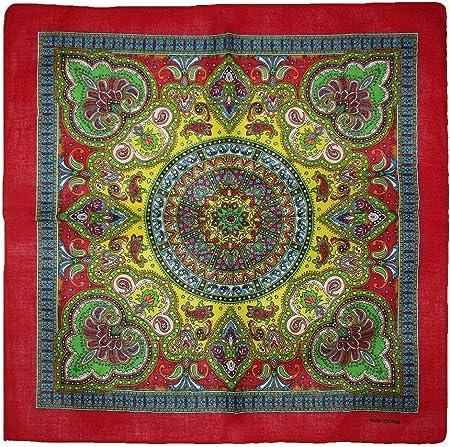 "22/""x22/"" Ornate Paisley Mosaic Multi Color Green 100/% Cotton Bandana"