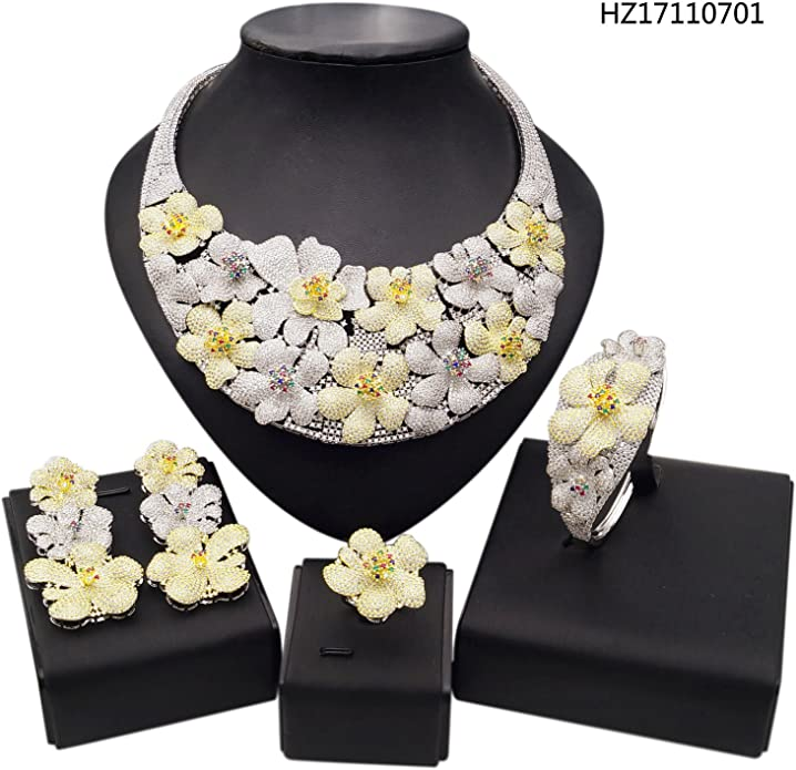 Yulaili Fashion Wedding Costume Jewelry Bridal Imitation Necklaces Set 24K Gold Plated