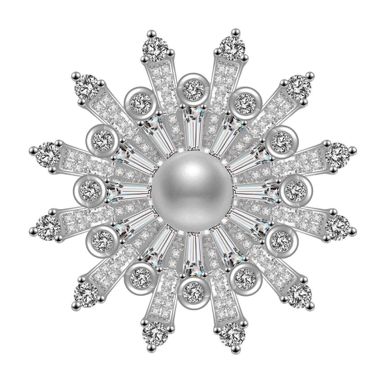 Schneeflocke Broschen Pins 18 Karat Gold mit 5A Zirkonia Sü ß wasser Perle Geschenk fü r Frauen vergoldet Wonvin Collection WCB18102209-Gold