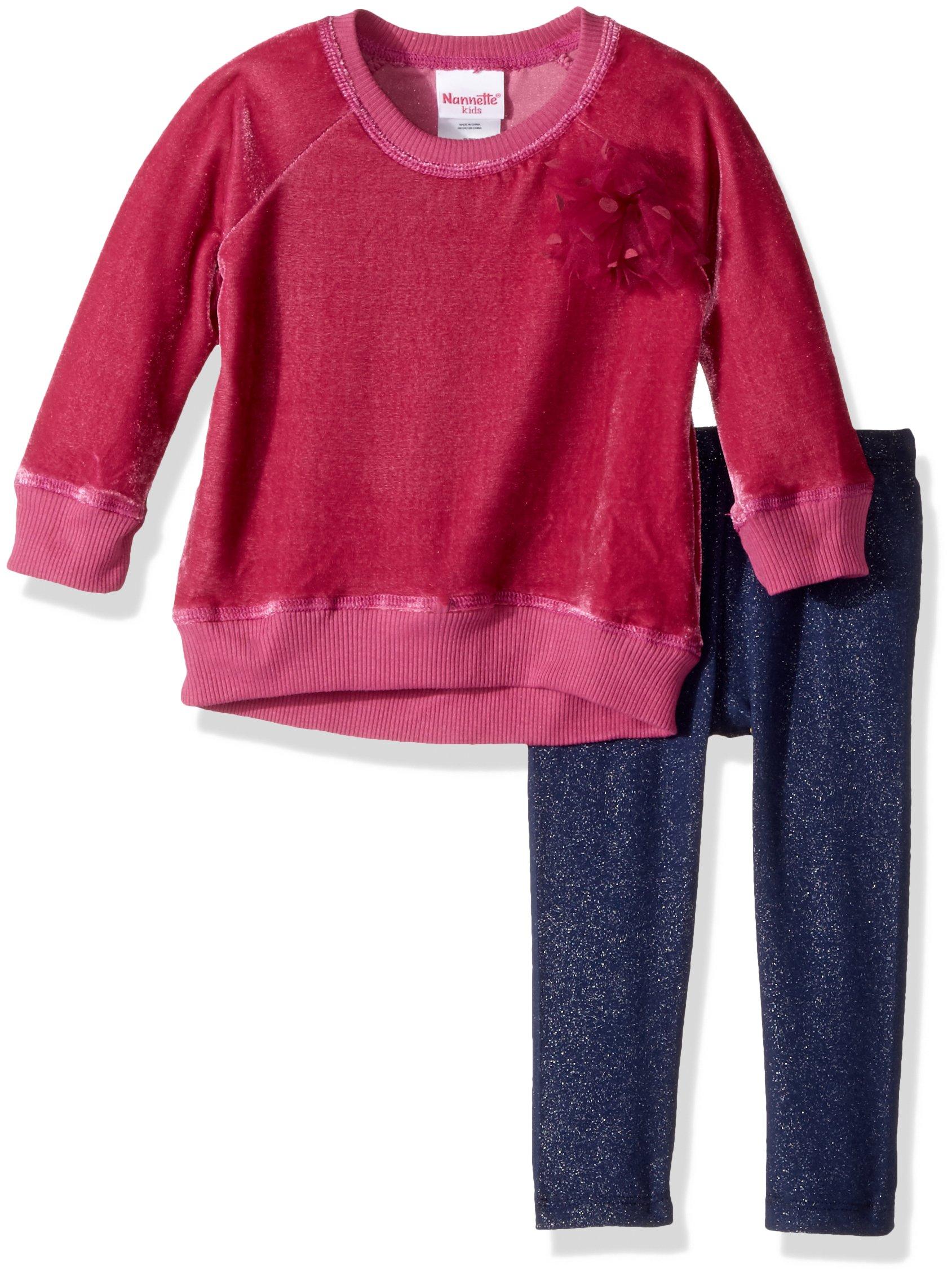 Nannette Baby Girls' 2 Piece Velvet Sweatshirt Set, Red, 12m