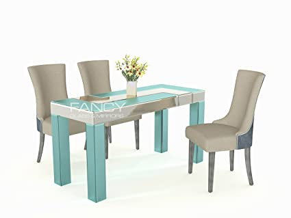 amazon com mirrored luxury dining table granada by fancy glass