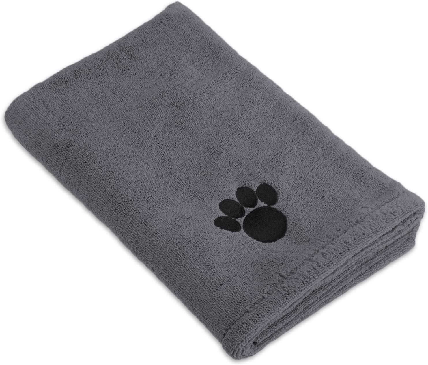 "Bone Dry Embroidered Pet Towel, 44 x 27.5"", Gray : Pet Supplies"