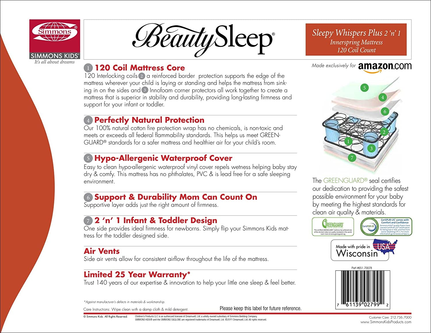 Amazon.com: Simmons Kids beautysleep Sleepy Whispers 120 ...