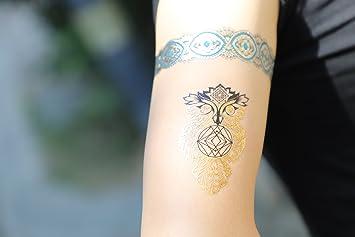 Metálico tatuajes temporales, prettydate 6 hojas 75 + diseños en ...