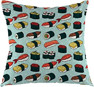 oFloral Sushi Decorative Throw Pillow Case Japanese Food Square Cushion Covers for Couch Sofa Home Bedroom Living Room 18 x 18 Inch Green