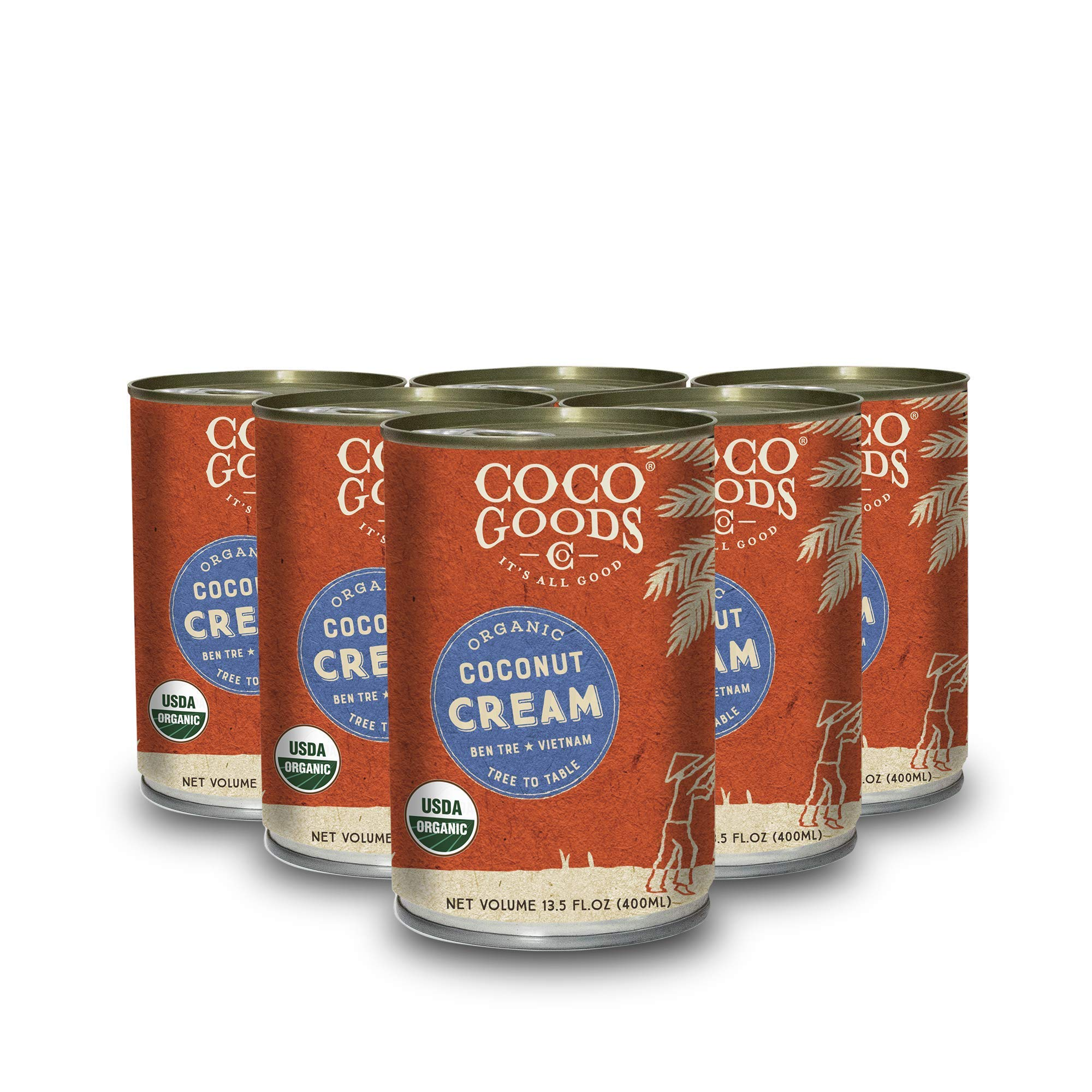 CocoGoods Co. Vietnam Single-Origin Organic Coconut Cream 13.5 oz - Gluten-free, Non-GMO, Vegan, & Dairy-free (Pack of 6)