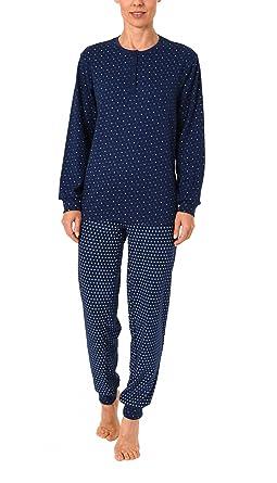 b3203c892d80fb Normann Copenhagen Damen Pyjama im Tupfendesign Langarm mit Bündchen in Kuschel  Interlock 271 201 96 126