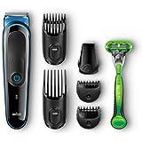 Braun Multigrooming-Set MGK3040, 7-In-1 Präzisionstrimmer Für Bart und Haar. Mit Gillette Body Rasierer, schwarz/blau