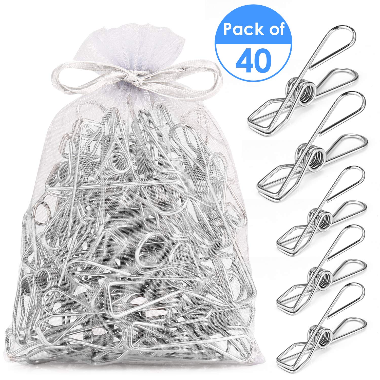 Fabsome Clothes Pegs Chip Clips Pack of 40, Long-lasting Strong-Grip Metal Laundry Clips for Washing Line, Snack Bags…