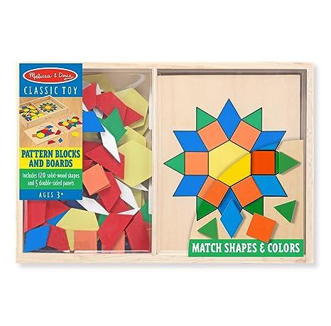 Amazon.com: Melissa & Doug Pattern Blocks and Boards - Classic Toy ...