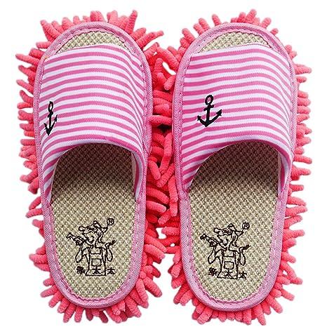 YL historia microfibra chenilla rayas patrón Lazy Zapatillas fregona desmontable zapatos de limpieza Limpiador de suelo