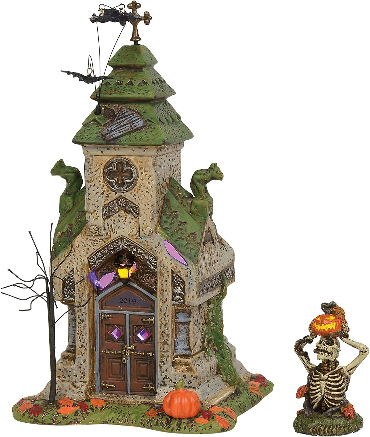Department 56 Halloween Accessories for Village Collections Rest in Peace 2019 Crypt and Skeleton Lit Figurine Set, 7.13 Inch, Multicolor