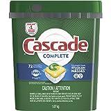 Cascade Dishwasher Detergent Pods, Complete Actionpacs Dishwasher Pods, Lemon Scent, 72 Count