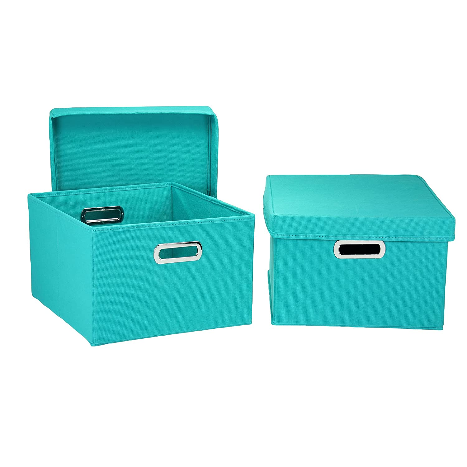 Charmant Amazon.com: Household Essentials Fabric Storage Boxes With Lids And  Handles: Home U0026 Kitchen