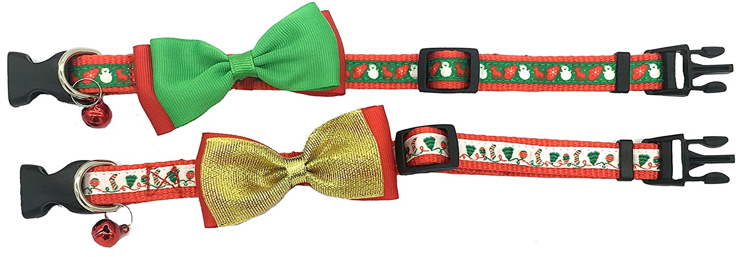 Adjustable 8-14 Alemon 2 Pack Christmas Santa Snowman Holiday Xmas Collar for Cats Kitten with Bowtie