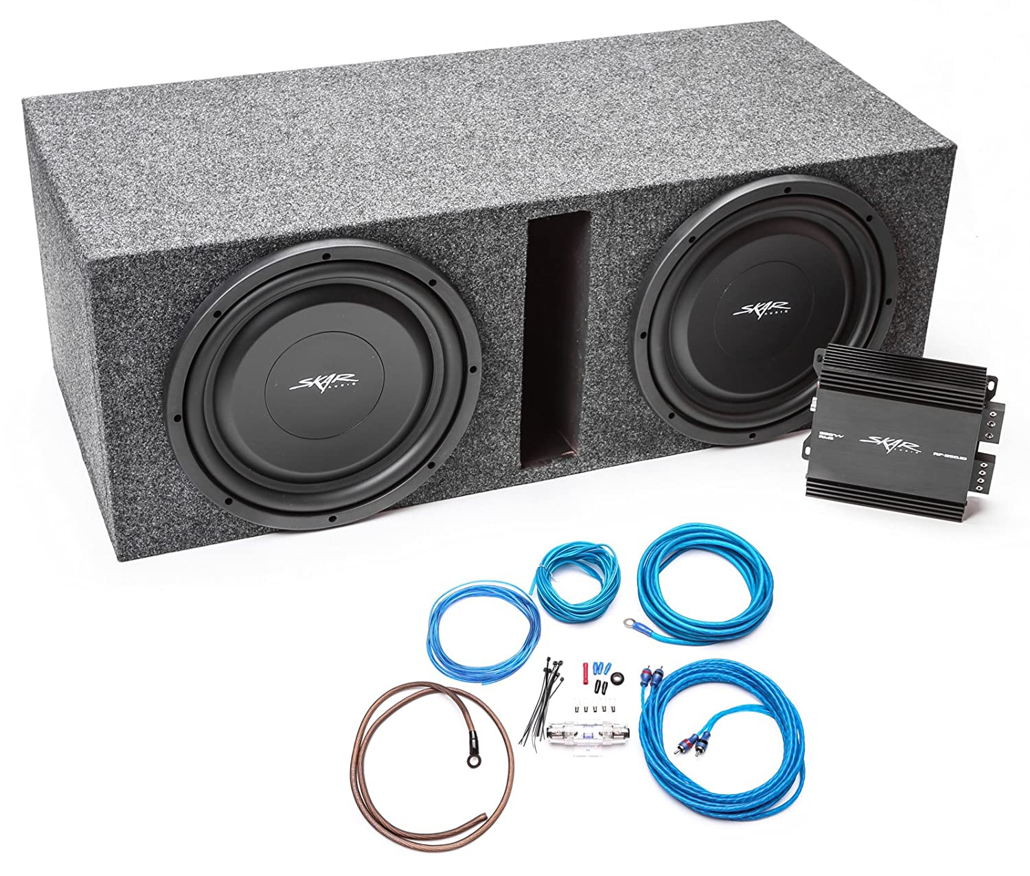 Skar Audio Dual 12 1000 Watt Complete Car Subwoofer Boss Kit2 8 Gauge Amplifier Wiring Kit Pair Vminnovations Bass Package With Ported Loaded Enclosure And Electronics