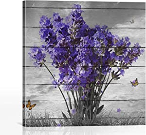 BOOPBEEP Bathroom Decor Purple Lavender Floral Plants Butterfly Animal Hd Prints Picture Craft Canvas Wall Art Painting Wooden Framed Stretched Vintage Square Wall Artwork Ready to Hang (12
