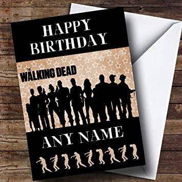 Red Black The Walking Dead Zombie Personalised Birthday Card