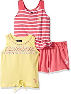 Jersey Tank and Pull-on Short Set Polo Assn U.S Girls Little 3 Piece Tunic