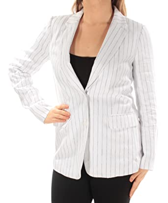 59aaa74a424a Image Unavailable. Image not available for. Color: Michael Kors $325 Womens  New 1162 White Blue Pinstripe Blazer Jacket ...