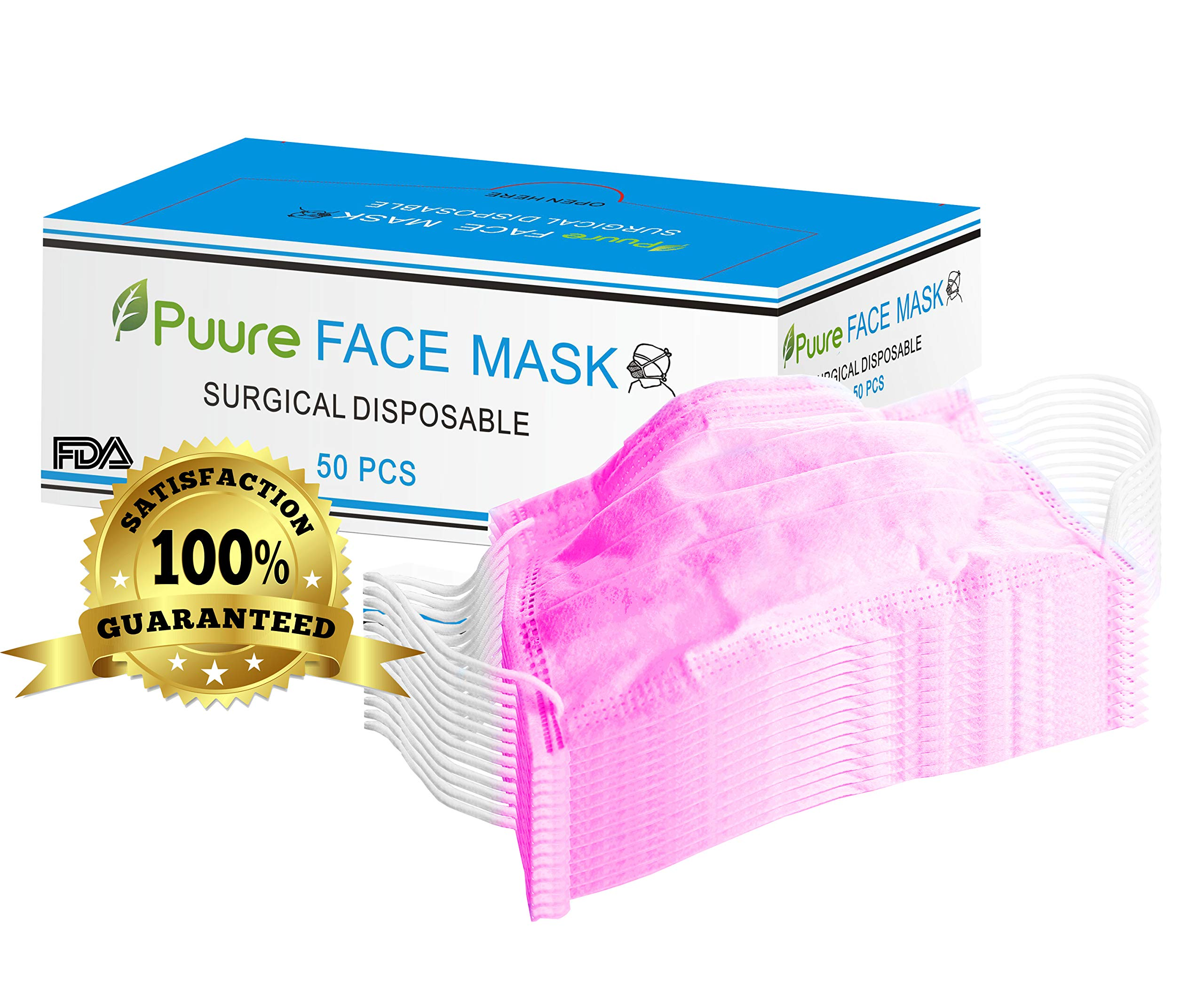 PUURE 50 Pcs Disposable Earloop Face Masks | Dental Surgical masks| FREE Ebook | Hypoallergenic Breathability | Comfort-Great For People with the Flu and Allergies - Pink