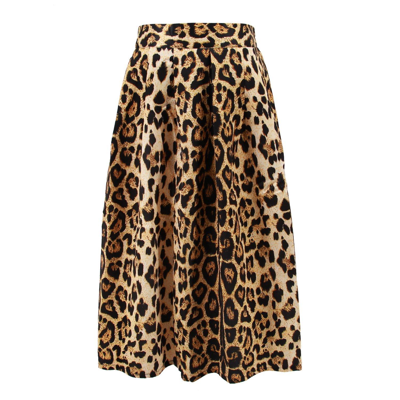 22f5afa1c707 Hoohu Women's Vintage Fashion Animal Tiger Leopard Print Pleated Umbrella  High Elastic Waist A-Line Midi Skirt Dress