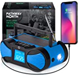 Pathway North NOAA Weather Radio – Hand Crank Solar Radio - LCD Screen - AM/FM/WB Radio Stations – Emergency LED Flashlight,