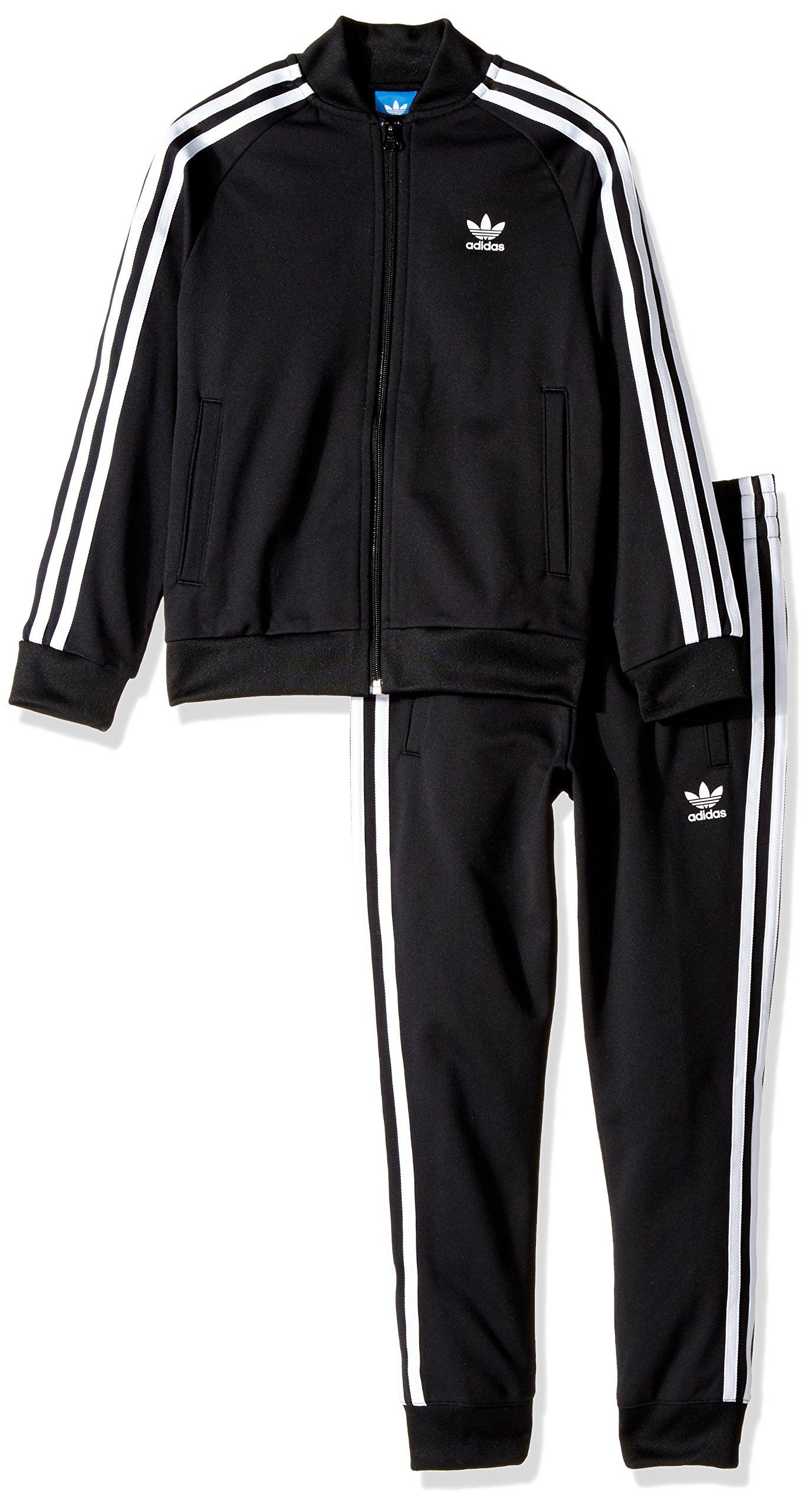 adidas Originals Outerwear | Big Boys' Kids Superstar Track Suit, Top: Black/White Bottom: Black/White, Medium