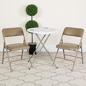 Flash Furniture 2 Pack HERCULES Series Curved Triple Braced & Double Hinged Beige Vinyl Metal Folding Chair