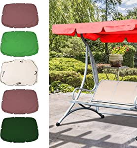 Blusea Swing Canopy Cover, Bench Top Replacement Sun Shade Cover, Waterproof Swing Canopy Cover Decor for Outdoor Garden Patio Yard Park Porch Seat Furniture