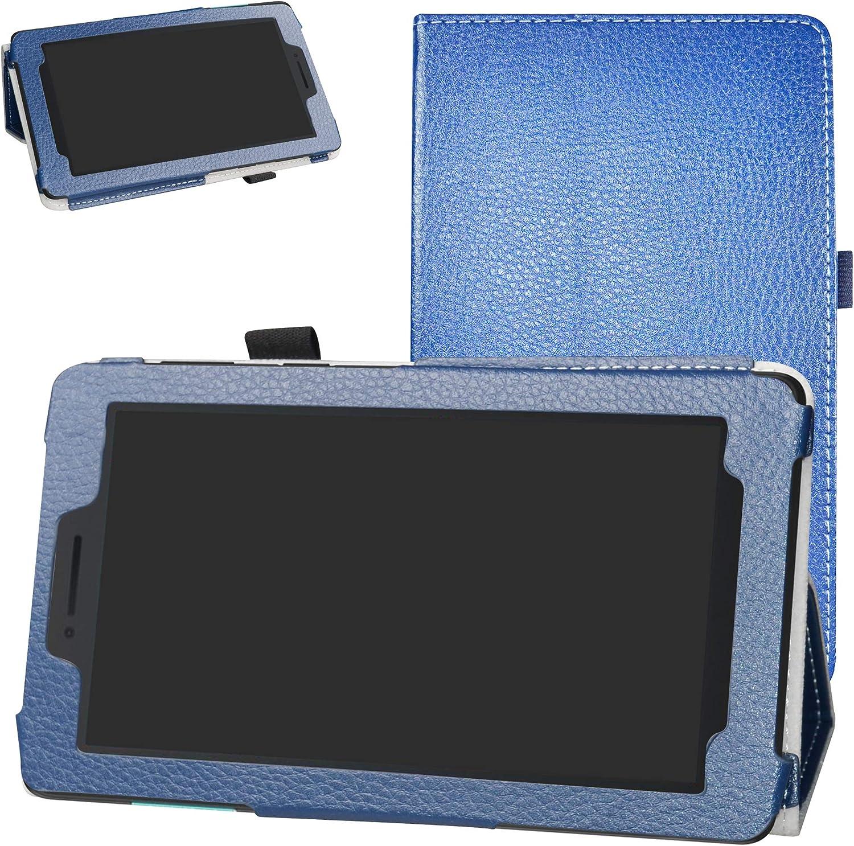 """Lenovo TAB E7 Case,Bige PU Leather Folio 2-Folding Stand Cover for 7"""" Lenovo TAB E7 TB-7104F Tablet(2018),Dark Blue"""