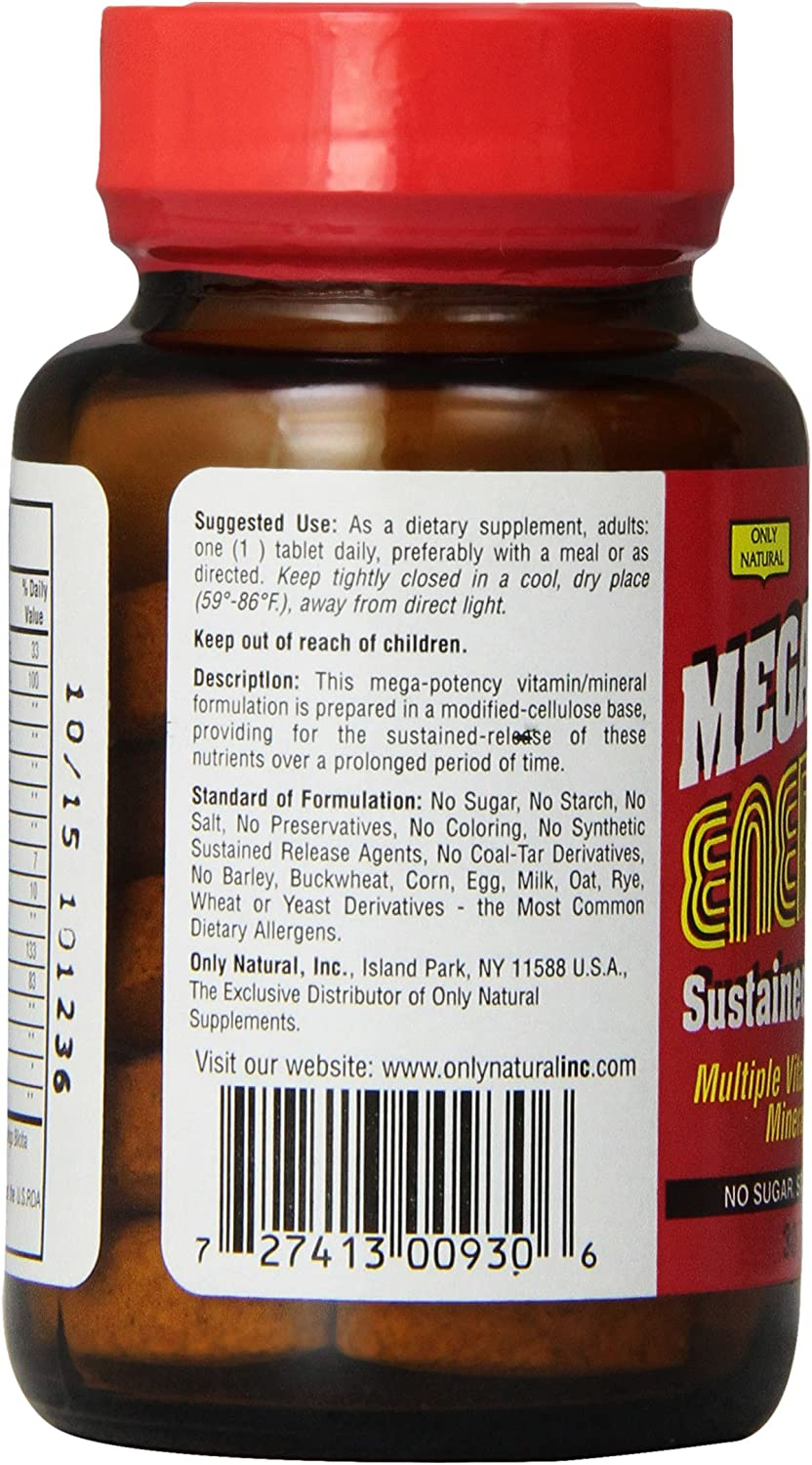 Only Natural Mega Multi Energizers, 30-Count
