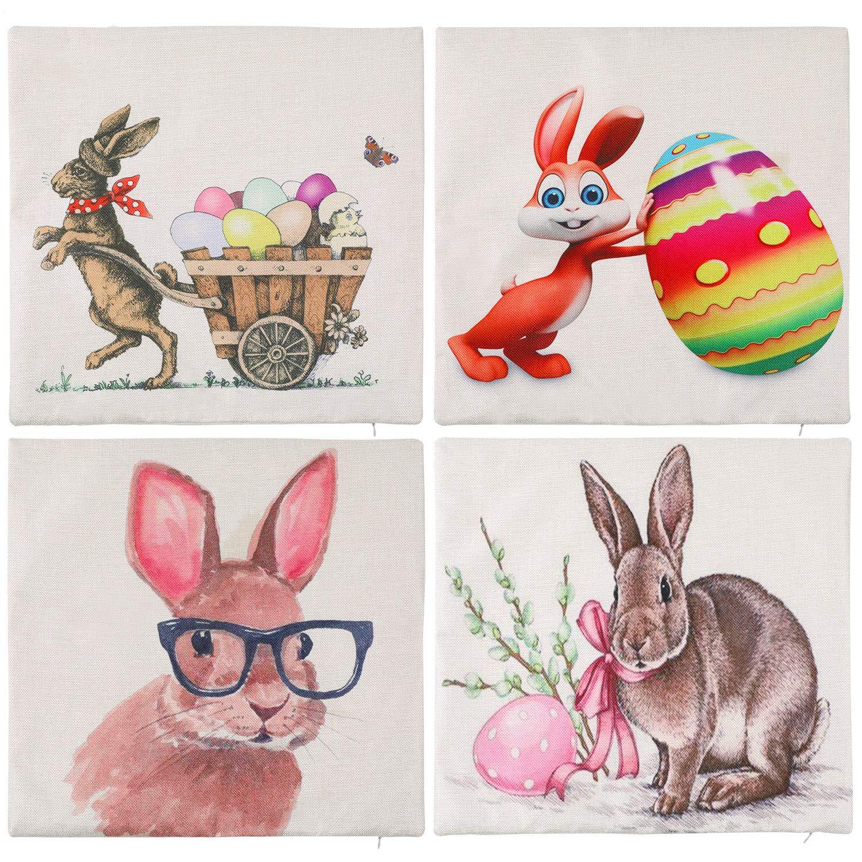 Zhanmai 4 Pezzi Copricuscino di Pasqua Fodera per Cuscino Modello di Uova di Coniglio Federa per Festa del Giorno di Pasqua Fornitura Colore Set 2