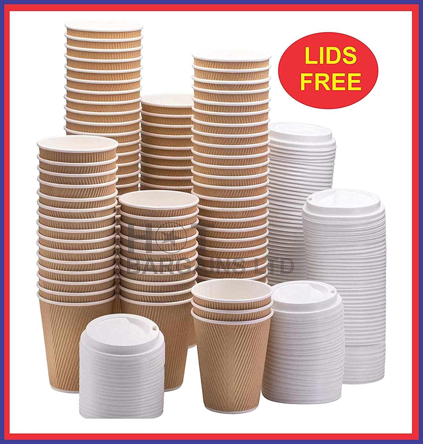 Disposable Coffee Cups with Lids 12 oz Triple Walled Paper