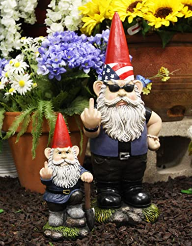 Ebros Garden Greeter Go Away Unwelcome Gnomes Flipping Double Birds Statue Patio Outdoor Poolside Garden Figurine As Whimsical Decor Magical Fantasy Gnome Set of 2 Rude Gnome