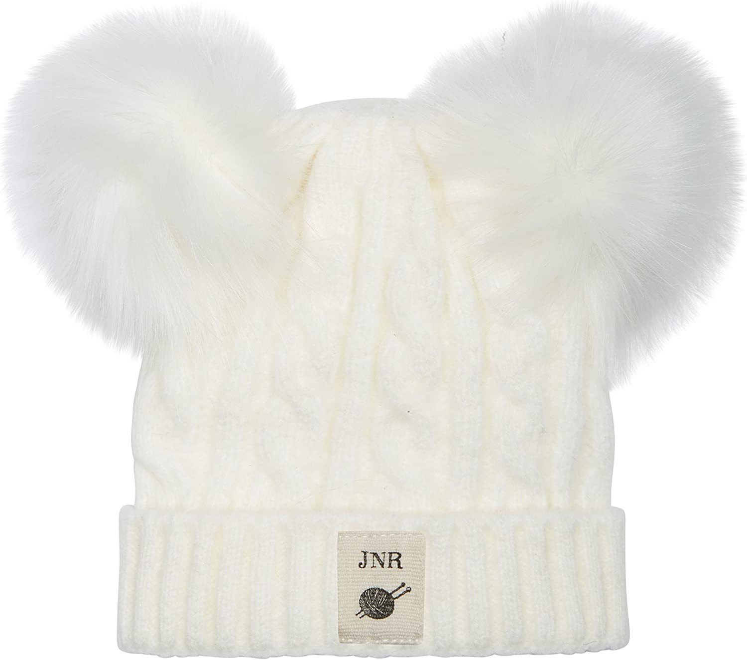 Aran Traditions Kids Cable Knit Faux Fur Pom Pom Hat 3-6 Years
