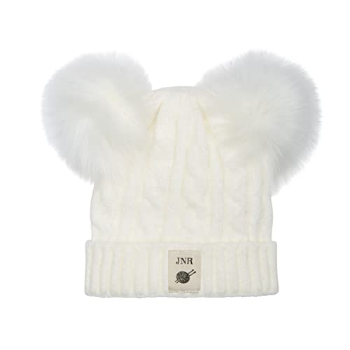 Aran Traditions Kids Cream White Cable Knit Faux Fur Double Pom Pom Hat 3-6 years