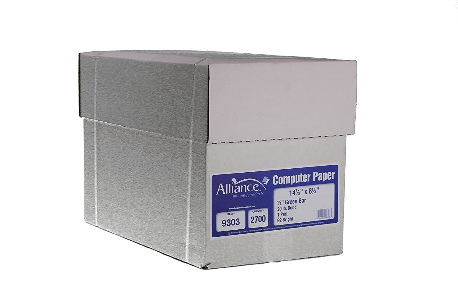 Alliance Continuous Computer Paper 14-7//8 x 8-1//2 with 1//2 Green Bar 1-Part 92 Bright 20lb 2700 Sheets per Carton 9303