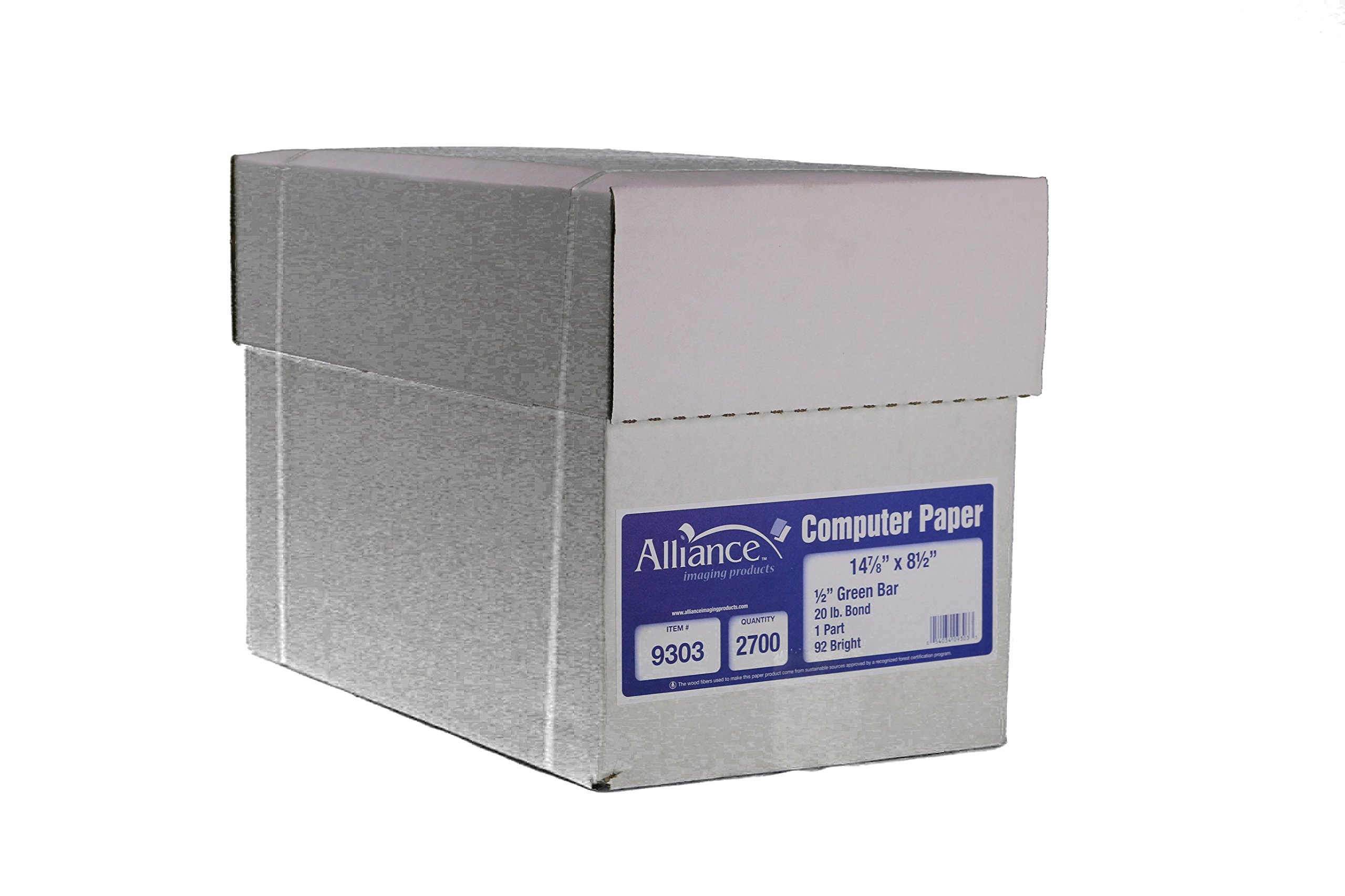 Alliance Continuous Computer Paper 14-7/8'' x 8''-1/2'' with 1/2'' Green Bar 1-Part 92 Bright 20lb 2700 Sheets per Carton (9303)