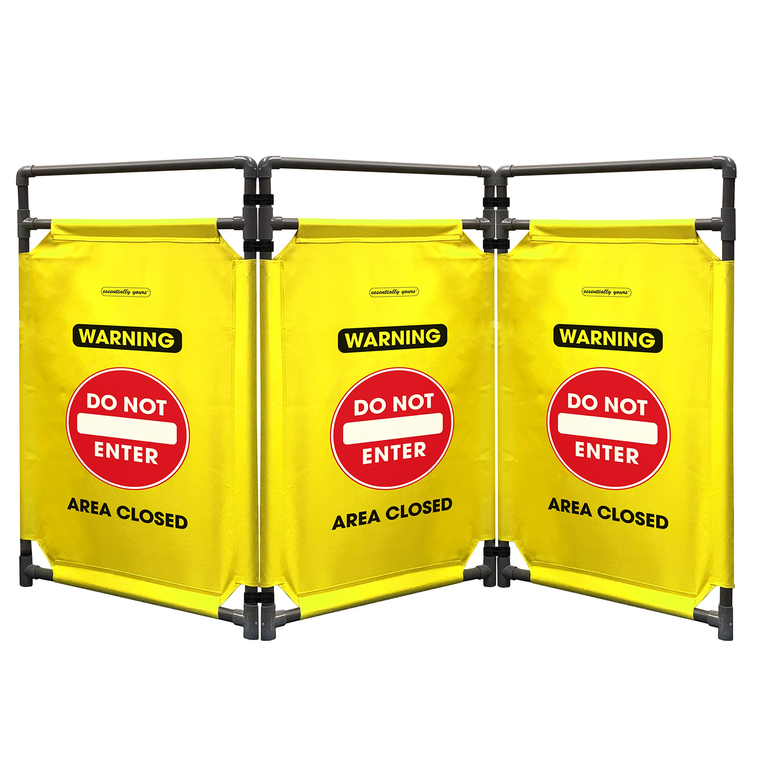 Safety Barricade, High Visibility 3 Foot Portable Safety Barrier with Heavy Duty PVC Frame, Foldable, Lightweight, Durable, Hi-Visibility-''DO NOT Enter'' by Essentially Yours