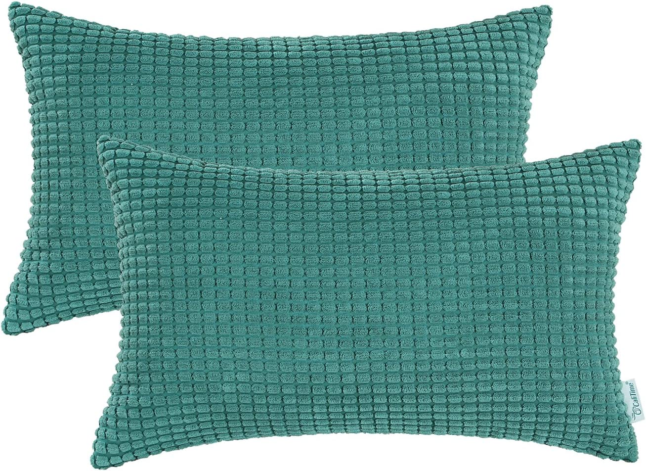 CaliTime Pack of 2 Comfy Pillow Covers Cases for Couch Sofa Bed Decoration Comfortable Supersoft Corduroy Corn Striped Both Sides 12 X 20 Inches Teal