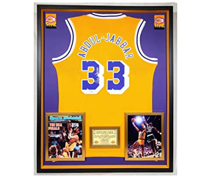 df2b0542406 Image Unavailable. Image not available for. Color: Premium Framed Kareem  Abdul-Jabbar Autographed/Signed Los Angeles Lakers Adidas ...