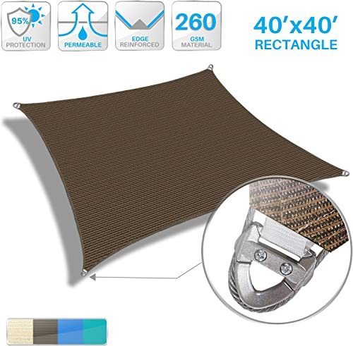 Patio Paradise Large Sun Shade Sail 40' x 40' Rectangle Heavy Duty Strengthen Durable Outdoor Canopy UV Block Fabric A-Ring Design Metal Spring Reinforcement 7 Year Warranty