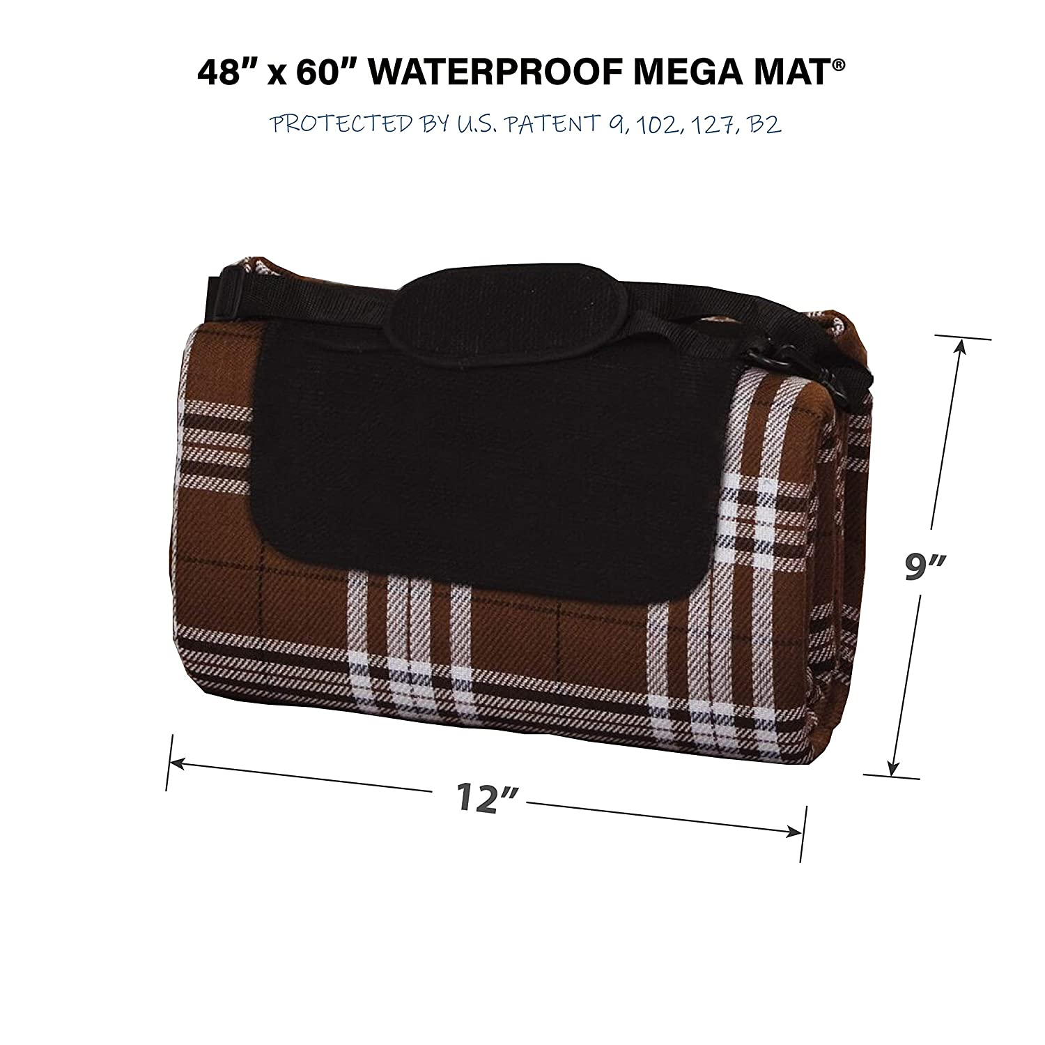 Picnic Plus Mega Mat 100 Waterproof Padded Picnic Blanket Beach Mat Camping Mat Outdoor Blanket Play Mat, Seats 2-3 Persons Plus Gear Opens to 48 X 60 Chocoholic