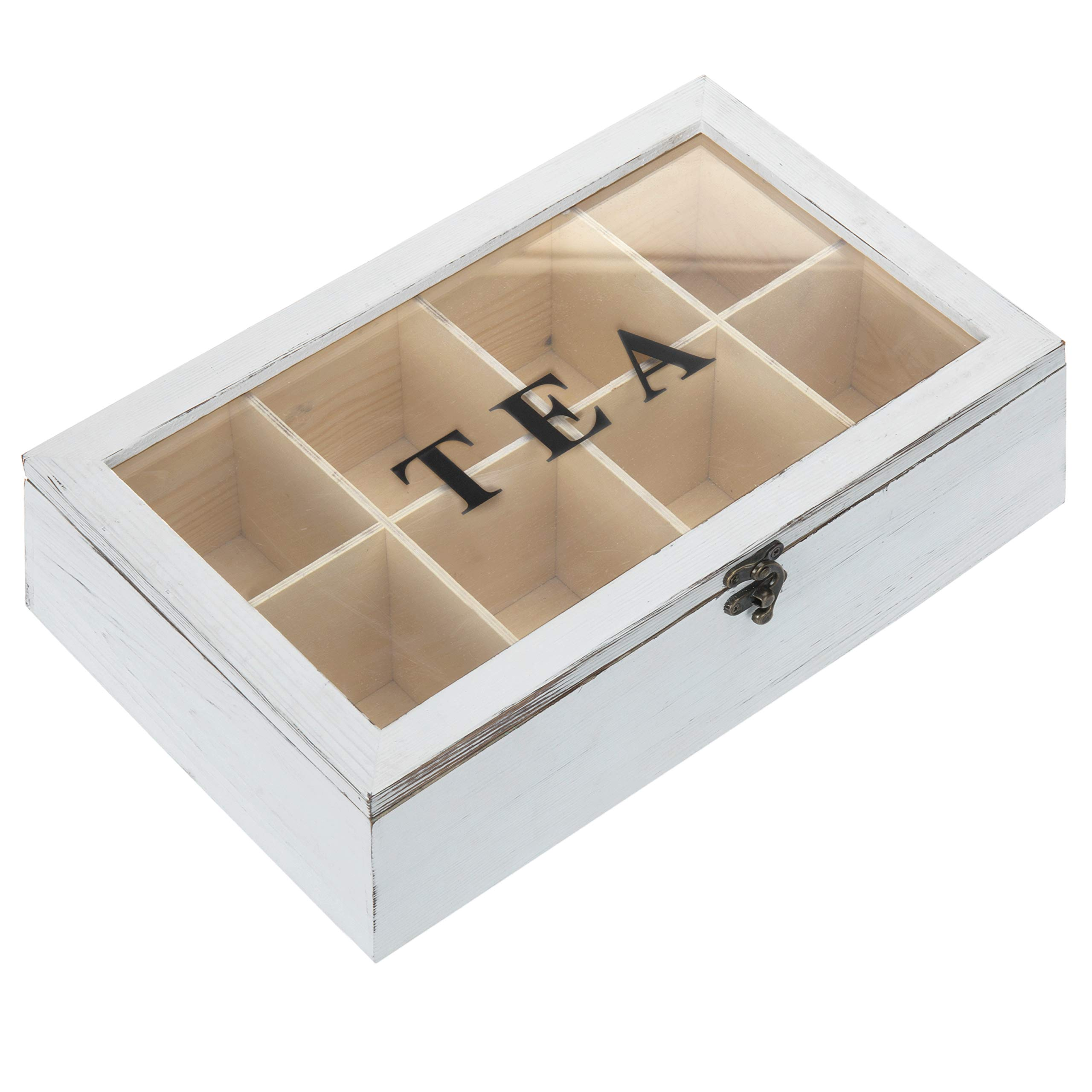 MyGift 8-Compartment Vintage White Wood Tea Bag Storage Box with Lid by MyGift