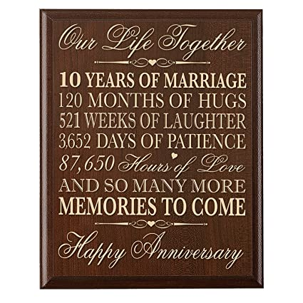 Amazoncom Lifesong Milestones 10th Wedding Anniversary Wall Plaque